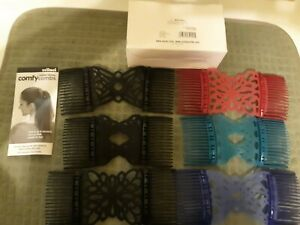 Set Of 6 Scunci Comfy Combs. 3 Black, 1 Red, 1 Blue and 1 Green. New in box.