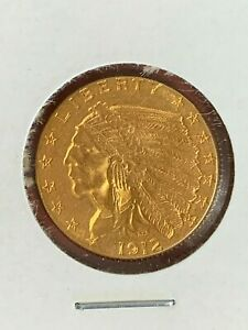 1912 Indian Head Quarter Eagle Gold 2½ Dollar Coin High Grade With Luster