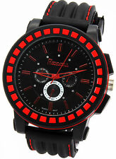 Mens Black Red Hip Hop Fashion Casual Silicone Quartz Wrist watch watches 3 ONYK