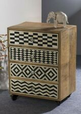 Handmade Bone Inlay 4 Drawer Solid Wood Chest Bedside Table With Wheel