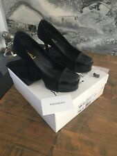 Ysl Yves Saint Laurent Tribute Black Suede Leather Court Shoes Size 37 Uk 4 Vgc
