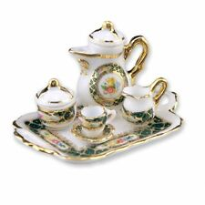 Dollhouse Miniature Irish Rose Coffee Set w/Tray by Reutter Porcelain