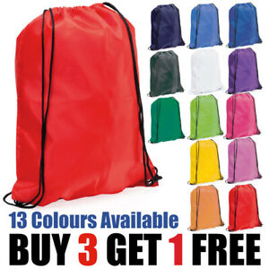 Nylon Drawstring Rucksack Bag Swimming School PE Kit Sport Kids Adults Fitness