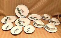 Salem Primrose Mid Century 15 pc LOT: Cup Saucers, Fruit Bowls Dinner Plates