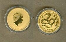 2013 AUSTRALIAN $25 LUNAR YEAR OF THE SNAKE GOLD COIN - 1/4 OZ .9999 GOLD