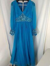 Vintage Mike Benet Formals Teal Blue Sheer Full Length Dress Gown