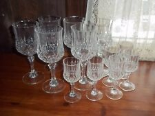 Set of 12 Vtg. Stemmed Glass Goblets - Diamond Point Pattern
