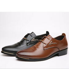 Men's Oxfords Leather Shoes Business Dress Formal Pointed Toe Casual Lace Up