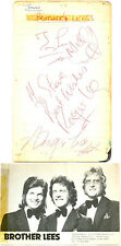 Brother Lees signed autograph book page + photo 1970s British comedy act