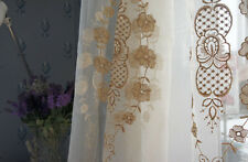 1 PC Delicate French Champagne Sheer Voile Curtain Panel with Embroidey C032