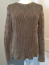 The Territory Ahead Womens Sweater Sz LARGE Beige Green Tie Knot Pullover Cotton
