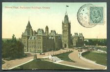 "OTTAWA POSTCARD ""GENERAL VIEW, PARLIAMENT BUILDINGS"" SENT TO URUGUAY"