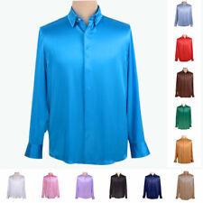 Mens 19 Momme 100% Mulberry Silk Dress Shirt Business Tops Long Sleeve AF252