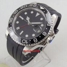 40mm PARNIS Schwarz Dial Datum GMT Sapphire Automatisch movement uhr men's Watch