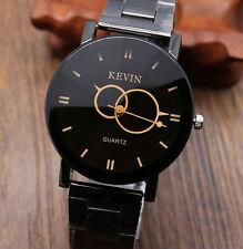 Fashion Design Black Luxury Stainless Steel Round Quartz Men's Wrist Watch Gift