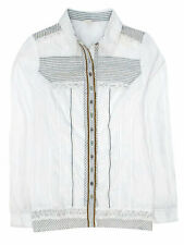 WHITE Cotton Blend Lace Trim Shirt - Plus Size 12 to 28 (EU 38 to 44)