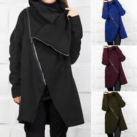 ZANZEA Women Long Sleeve Turn Down Collar Jacket Coat Zip Up Asymmetrical Sweats