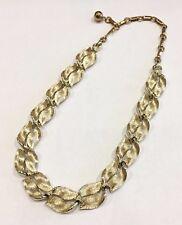 Lisner Shiny Gold Tone Textured Leafy Choker Necklace Vintage Costume Designer