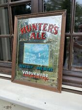 More details for hunters ale 1828 bentley's brewery yorkshire pub mirror wooden frame hounds