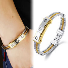 New Men's Cubic Gold Silver Tone Titanium Steel Twisted Cable Bangle Bracelet