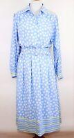 VINTAGE ANASTASIA Women's 12 BLUE & WHITE FLORAL RETRO DRESS W/ BELT Long Sleeve
