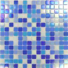 1 SQ M Blue & White Mix in Iridecsent Glass Mosaic Tiles Sheet 0142