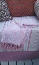 New Pink Handwoven 100% Cotton Blanket Throw, fringe ends 58 x 40 inches