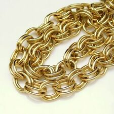 Vintage Long Chunky Statement Necklace Heavy Goldtone Double Links Classic
