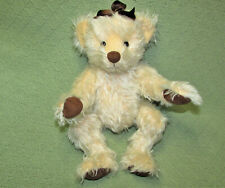 "15"" Mohair Teddy Bear Blond Jointed Artist Designer Brown Ribbon Soft Paws"
