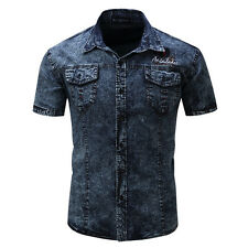 New Men's Military Washed Jeans Casual Slim Fit Cotton Short Sleeve Shirts 127