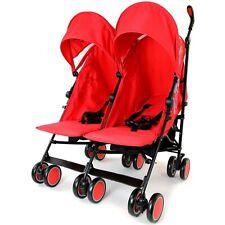 Rojo Bebé Cochecito Buggy Cochecito Doble Doble Inc protector contra la lluvia