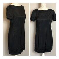 Jasper Conran Little Black Dress Embellished Beaded Shift Tunic Style Size 10