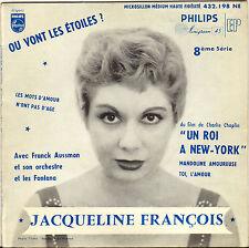 """JACQUELINE FRANCOIS """"UN ROI A NEW-YORK"""" 50'S EP PHILIPS 432.198"""