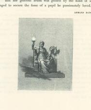 ANTIQUE GRECIAN ROMAN WOMAN TORCH BIRD SPHINIX CHAIR RARE SMALL OLD ART PRINT