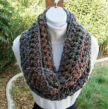 CROCHET INFINITY SCARF Blue Green Teal Rust Chunky Bulky Knit Circle Winter Cowl