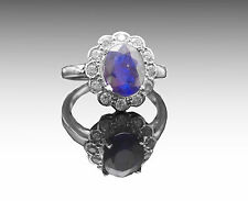 925 Sterling Silver Ring with Natural Oval Cut Blue Sapphire Size 4 5 6 7 8 9 10