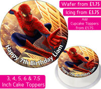 SPIDERMAN EDIBLE WAFER & ICING PERSONALISED CAKE TOPPERS DECORATION BIRTHDAY NEW