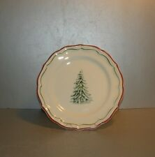 NEW Dessert Plate Filets Noël with Christmas Tree Pattern GIEN