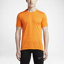Nike Dri-FIT Cool Tailwind Stripe Men's Running Short-Sleeve Shirt - orange S