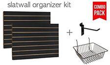 """Black Slatwall Panels Organizer Kit (2) 2'Hx 4'W + (15) 6"""" hooks & 4 baskets"""