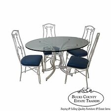 Vintage White Faux Bamboo Cast Aluminum Glass Top Dining Table & 4 Chair Set