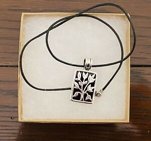 Silpada Sterling Silver Tree of Life Live Laugh Love Black Onyx Pendant Necklace