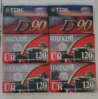Maxell TDK Audio Cassette Tape Lot * 6 Factory Sealed Blank Tapes