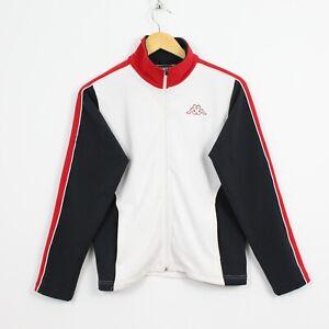 I52 Vtg Kappa Sport 90s Women White Black Red Track Jacket Rare Size S