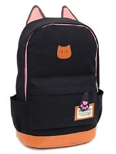 Super Cute Light Weight Canvas CAT Ears Backpacks(Black)