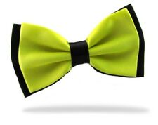 GIFTS FOR MEN Pre-Tied Mens Adjustable Plain Polyester Satin Bow Tie Yellow Gold