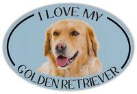 Oval Dog Breed Picture Car Magnet - I Love My Golden Retriever - Bumper Sticker