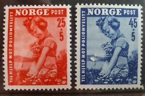 1950 Norway Full Set Of 2 Semi Postal Stamps - Child Picking Flowers  - UN/LH