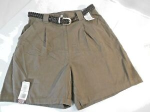 Bill Blass Women's Shorts Size 14 Belt Brown New With Tags Zip and Snap Closure