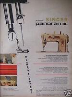 PUBLICITÉ 1960 SINGER PANORAMIC MACHINE A AIGUILLE INCLINÉE - ADVERTISING